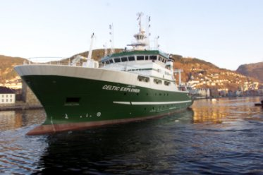 The Celtic Explorer alongside in Bergin, Norway during sea trials