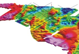 Survey lines arranged over existing INSS gravity data