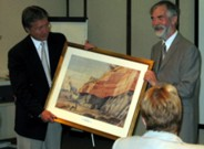 Dr. McArdle presents Premier Williams with a De Noyer Print from Co. Waterford